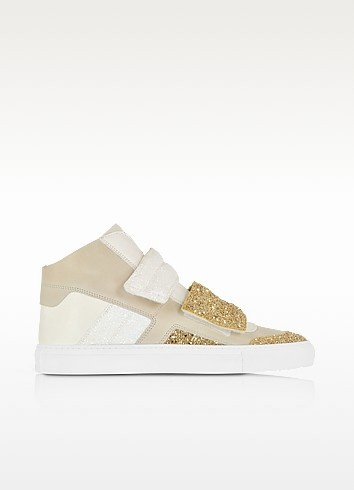 Gold  white and beige suede sneaker w glitter 4