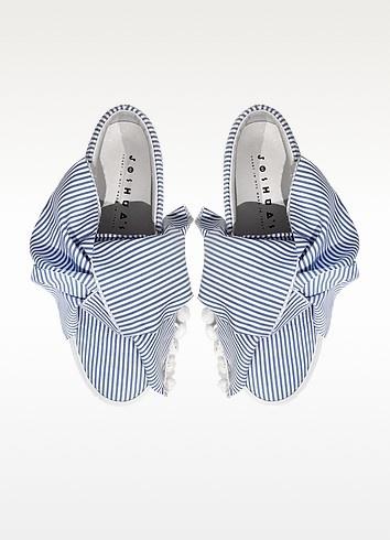 Skinny stripes bow cotton slip on sneakers skinny stripes bow cotton slip on sneakers 3