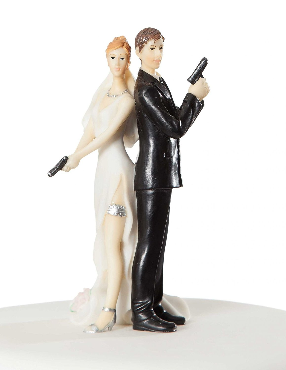 Super sexy spy wedding bride and groom cake topper figurine 3