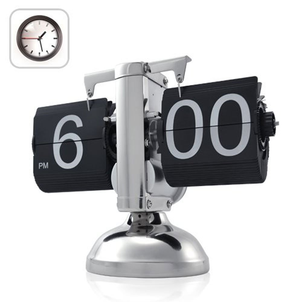 Niceeshop tm  retro flip down clock   internal gear operated black 3