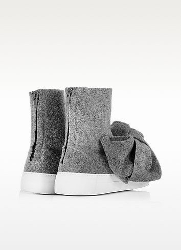 Melange gray high top bow sneakers3