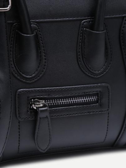 Black zip trim faux leather handbag with strap  4