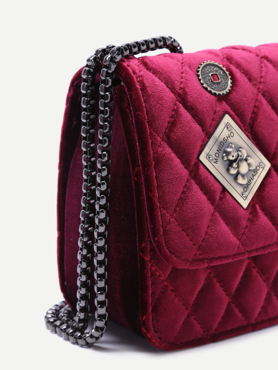Maroon embellished boxy quilted crossbody chain bag4