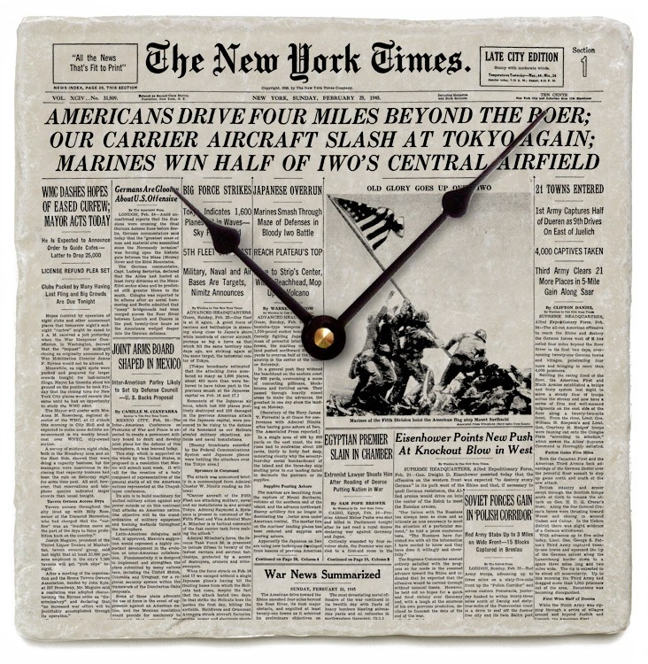 Your new york times front page on marble clock4