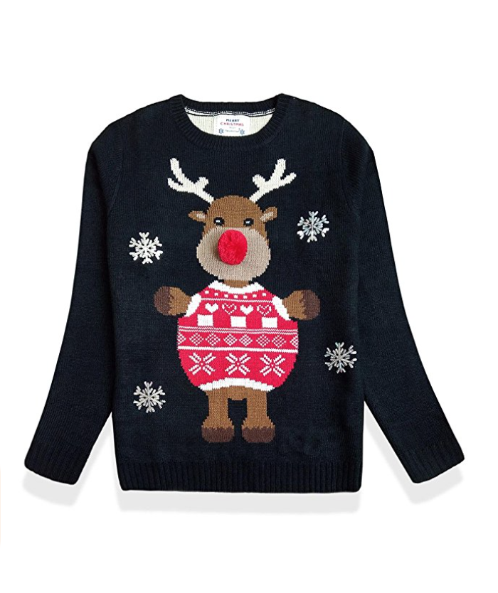 Women s christmas cute reindeer knitted sweater girl pullover3