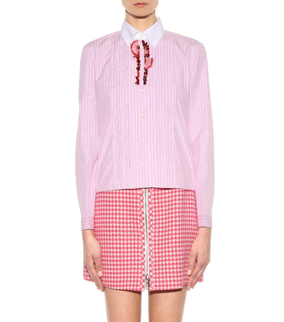 Prada embellished striped cotton shirt4