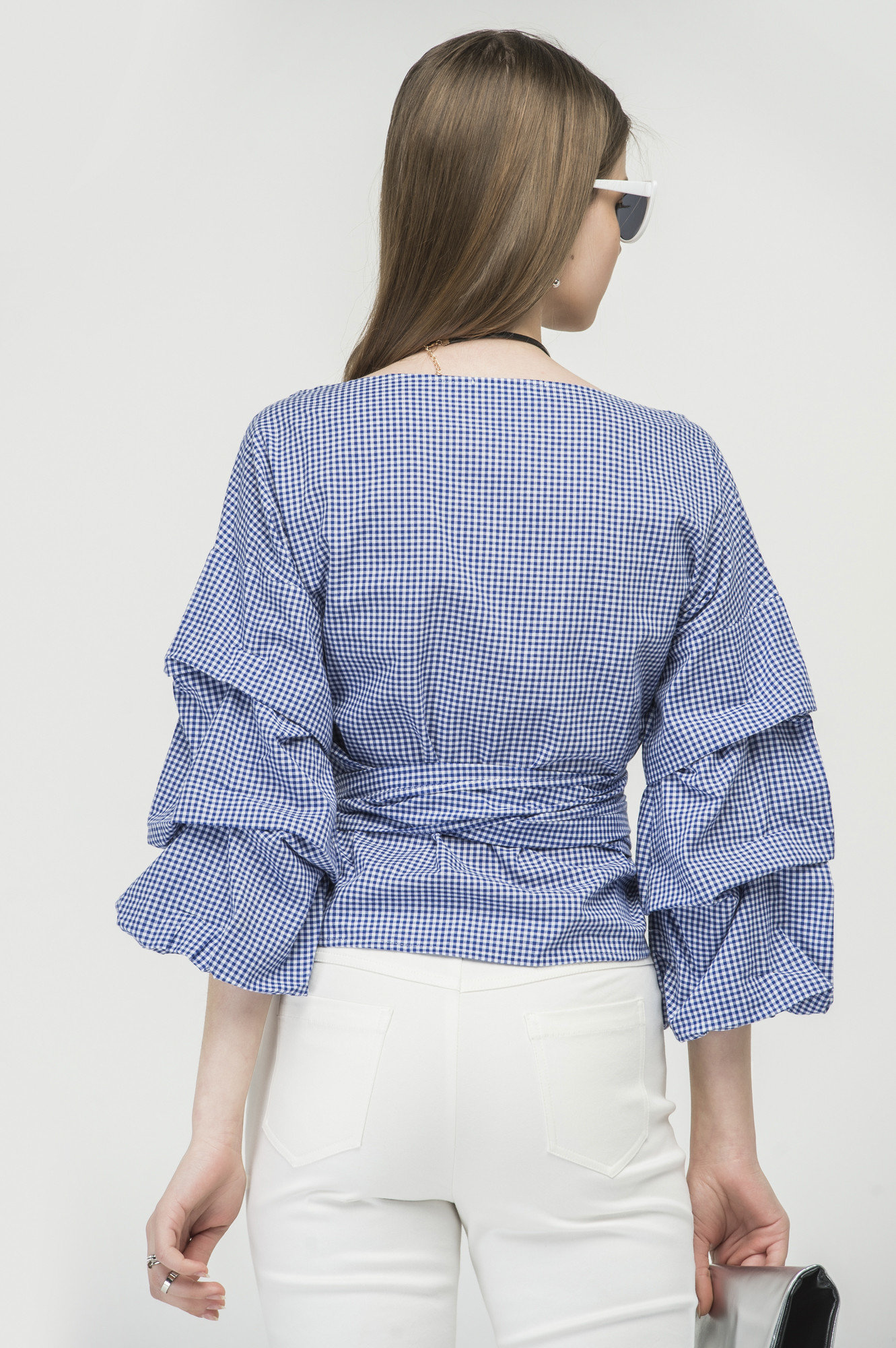 Ruched sleeve wrap blouse in blue 4
