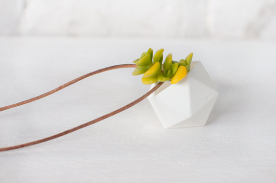 Icosahedron wearable planter in coral  3