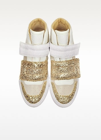 Gold  white and beige suede sneaker w glitter 5
